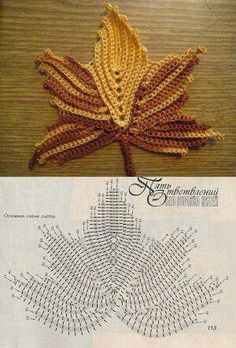 Crocheted fall maple leaf with pattern