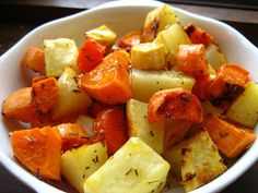 Home Cooking In Montana: Roasted Root Vegetables with Orange Maple Glaze. Ingredients: carrot, parsnip, beet or purple potatoes or purple carrots, sweet potato, oranges (or juice), olive oil, maple syrup (or honey), salt, garlic cloves