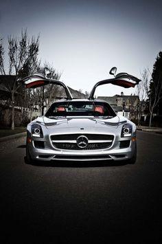 ♂ Silver car Mercedes SLS AMG