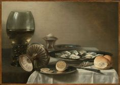 """Pieter Claesz """"Still Life with Wine Goblet and Oysters."""" Museum of Fine Arts, Boston."""