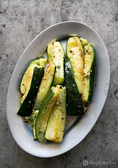 Roasted Zucchini with Garlic Recipe on SimplyRecipes.com #glutenfree #vegan #paleo