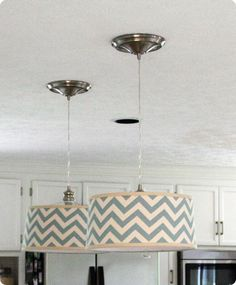 tutorial: how to convert can/recessed lights to pendants with fabric-covered drum shades