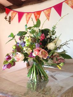 Spring bouquet of Seasonal, British blooms by Chloe at http://www.bareblooms.co.uk/