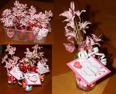 """Here are my Valentine gifts for my kiddos' teachers and my coworkers. I reused a Valentine idea from a few years ago, but they were still a hit!  Fill a small vase or cup with M&Ms and add fake flowers and """"rosebuds"""" made using Hershey Kisses.  I just printed off free Valentine printouts and added the names."""