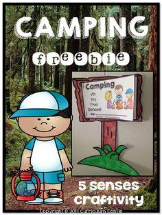 Camping FREEBIE!  Five senses and camping craftivity. camp craftiv, camp theme, free camp, camping science