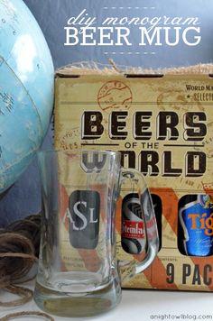 DIY Monogram Beer Mug via A Night Owl >> #WorldMarket Inspiration ~  #monogram #fathersday #gift