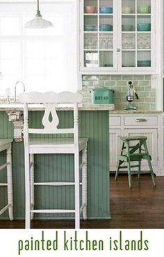 cute idea- i think i'd do blue or a green like this painted kitchen islands and use a complementary tile backsplash color
