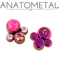 Threaded Gem Clusters in ASTM F-136 titanium, anodized fuchsia; synthetic Opal #55, Salmon Pink CZ, and Pink CZ gems