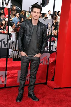 Shop this look for $202:  http://lookastic.com/men/looks/black-bomber-jacket-and-charcoal-crew-neck-t-shirt-and-charcoal-jeans-and-black-boots/1973  — Black Leather Bomber Jacket  — Charcoal Crew-neck T-shirt  — Charcoal Jeans  — Black Leather Boots