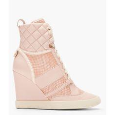 CHLOE Pink Snakeskin Wedge Sneakers ($895) ❤ liked on Polyvore