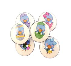 6 Easter Egg Bird Handmade Buttons.  3/4 or 20 by buttonsbyrobin, $11.99 handmad button, easter eggs, egg bird, bird handmad