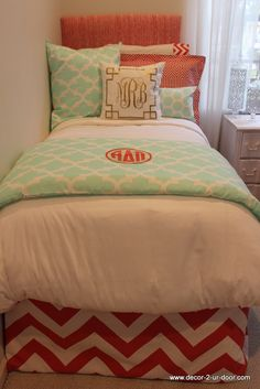mint and coral dorm room bedding