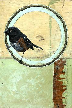 Latex, acrylic, spray paint, shellac, varnish, India Ink, tar, on reclaimed board #bird #art