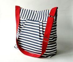 Stockholm Navy & White Pleated French Messenger Bag #messenger bags
