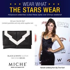 Hannah Landberg from Big Time Rush with a Miche Hip Bag. Get yours for a limited time. #handbags #miche #celebrity #emmys