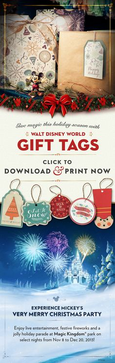 Printable Gift Tags #Christmas #WaltDisneyWorld