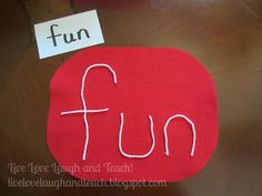 Lots of great ways to practice sight words - spaghetti spelling yarn and felt