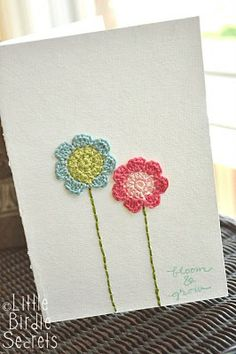 Crochet flower card