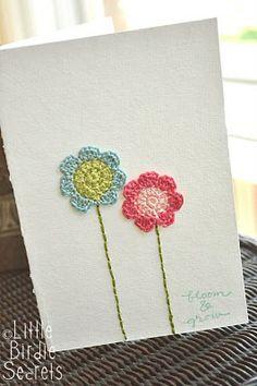 crochet flowers card, flower card, crocheted flowers, gift cards, crochet flower patterns, crochet patterns, crocheted flower patterns, flower crochet, crochet flowers pattern