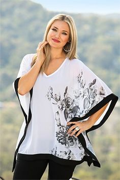 Women's Tops - Sara Contrast Print Poncho