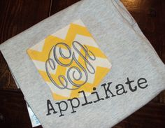 Chevron Monogrammed Personalized Fabric Pocket Tee by AppliKate, $20.00