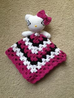 Crochet Hello Kitty Inspired Lovey Pattern by ToqueFairies on Etsy, $4.00 Kaitlyn I want this one in the purple I showed u and white and hot pink thanks!!!!