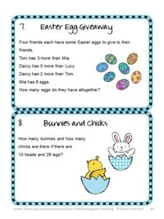 Easter Math Brain Teasers from Easter Math Games, Puzzles and Brain Teasers by Games 4 Learning. They'll have so much fun they won't even realize they are doing math! :) $