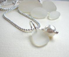 Seaglass Wedding  Necklace by GardenLeafDesign
