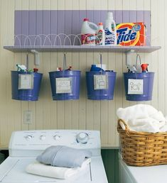 Put cleaning supplies for bedrooms, bathrooms, living room, etc. in pails so you just grab a pail and clean... great idea!
