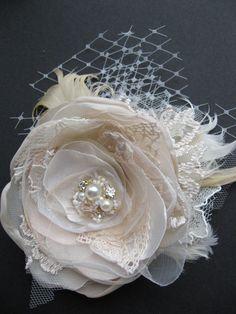 This is beautiful! Wedding fascinator bridal flower hairpiece vintage by LeFlowers