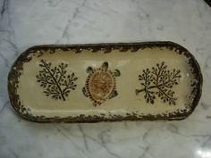 Fern and turtle impression pottery pine needle basket bases on Etsy, $16.00