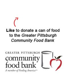 We are donating a can to a food to the Greater Pittsburgh Community Food Bank for each Like on this pin! Like EatAtTGIFridays on Facebook and we'll donate another! www.facebook.com/EatAtTGIFridays
