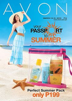 Get the First Time Ever Summer Pack for only P199 with every P299 worth of purchase from pages 4-23 of our March 13-31 brochure! Make Avon your Passport to Summer with our summer-ready products and get a chance to win FREE FLIGHTS to Cebu, Davao, and Boracay!
