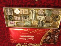 Great way to give money folded origami bills in chocolate candy box.