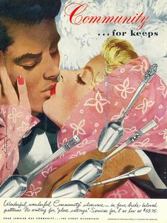 A romantic Community Silver ad from 1951. #vintage #1950s #couples #silverware #ads