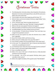 Christmas trivia game. FREE Printable