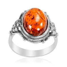 Liquidation Channel | Baltic Amber Ring in Sterling Silver (Nickel Free)