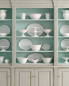 Beautiful robin's egg blue painted cabinet back.  I think this is the perfect color.