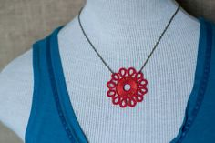 Kachin Necklace Tatted Flower in Poppy and Bronze by hilltribers, $24.00