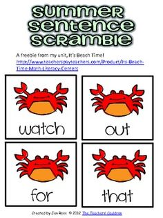 A piece of my It's Beach Time! unit!http://www.teacherspayteachers.com/Product/Its-Beach-Time-Math-Literacy-Centers...