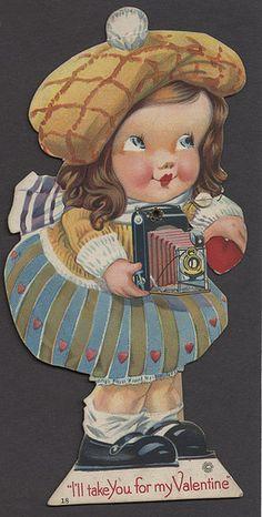 Vintage Valentine - Girl with Camera #1- Mechanical Valentine
