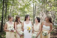pale yellow bridesmaids in a mix of styles  Photography By / paperantler.com/paper_antler, Floral Design By / allureeventflorists.com