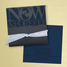 Blue and White Wedding Ideas - Now and Forever Invitation - Onyx with Midnight   Occasions In Print, LLC (Invitation Link - http://occasionsinprint.carlsoncraft.com/Wedding/Wedding-Invitations/3149-RRN9629MD-Now-and-Forever-Invitation--Onyx-with-Midnight.pro)