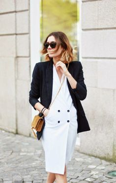 white tux dress & pinstripes