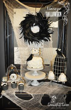Serendipity Soiree: {Dessert Table} Vintage Halloween Inspiration + Black and White