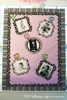 """Great idea from Schoolgirl Style: Use CTP's new BW Collection cut-outs as frames for black and white photos of students! This adds a touch of """"class"""" to your room decor. See more in the new catalog!"""