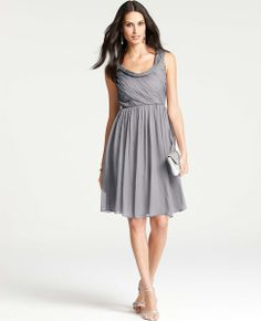 Ann Taylor - Cocktail Dresses: Party Dresses, Evening Gowns, Formal Dresses: ANN TAYLOR - Silk Draped Cowl Neck Dress