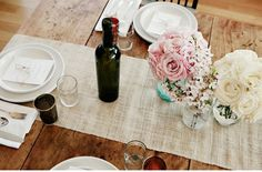 wood table! wine & white.