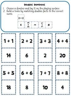 Exploring the Doubles Strategy for Addition and Subtraction. Complete unit!  1. Mini lesson for introducing doubles and creating an anchor chart 2. Two board games with instructions and recording sheets--one for doubles and one for halves 3. Flash cards with ten-frame representation on one side and the fact on the other 4. Two sets of dominoes--one with just numerals and one with a mix of pictorial and numerals 5. Fact family workstation with mat, cards, and recording sheet $