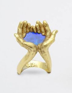 Kevin Coates Ring of hands cupping water in 18k Gold and Opal